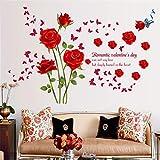 GQFGYYL-QD romantische rote Rosen Schlafzimmer Veranda Wohnzimmer Bad wandsticker - Hintergrund