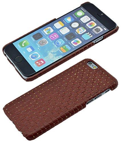 iPhone 6s - Original SunCase ® (Backcover) Tasche Schutzhülle Hard Case aus echtem Leder (geflochtenem Look) in rot Braun