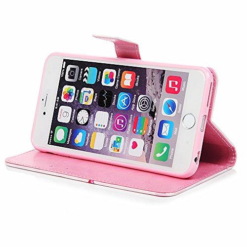 Lanveni Handyhülle für iPhone 6/iPhone 6S Flip Case Cover 3D-Effekte PU Lederhülle Schutzhülle Magnetverschluss Ledertasche mit Stander Function Brieftasche Card Slot Handy Tasche mit Bunte Gemalt Des Diamant-Flamingo