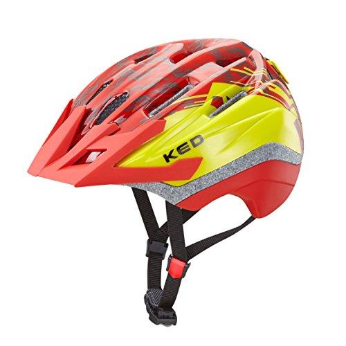 KED Fahrradhelm Dera in der Größe S/M (Kopfumfang 49-55 cm) mit der Farbe Red Yellow, Extrem Gut Belüfteter Allrounder-Helm in Robuster maxSHELL®- Technologie und Quickstopp-System