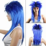 chinkyboo Blue Womens Wigs Glam Punk Rocker Chick Tina Turner Ladies Carnival Fancy Dress Costume Cosplay Party Wig