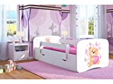 Kocot Kids Kinderbett Jugendbett 70x140 80x160 80x180 Weiß mit Rausfallschutz Matratze Schublade und Lattenrost Kinderbetten für Mädchen und Junge - Teddybär mit Schmetterlingen 160 cm