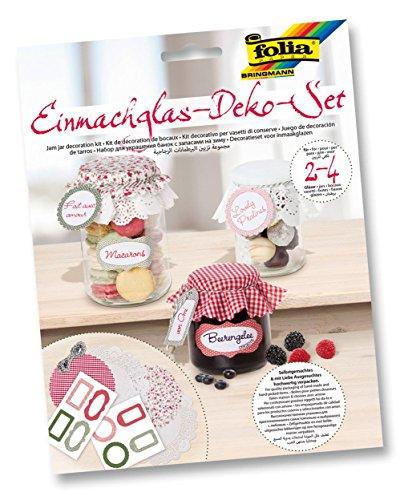 """Preisvergleich Produktbild FOLIA Marmeladenglas Deckchen Set """"Candy"""" Etiketten Einmachglas Deko für 2-4 Gläser"""