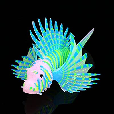 Qiterr Aquarium Dekorationen, Fluoreszenz Aquarium Ornamente 3D Künstliches Silikon Blau
