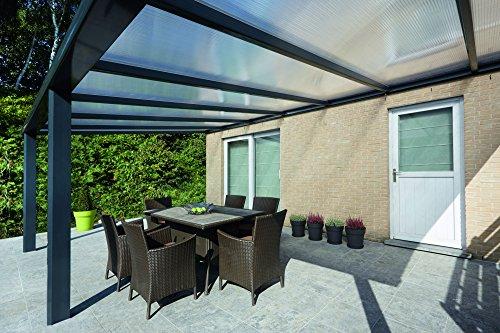 Climalux - Aluminium Terrassenüberdachung / Terrassendach Veranda - ALU Überdachung - 600 x 400 cm - Anthrazit - 16mm opalfarbige Polycarbonatplatten - CE-zertifiziert gemäß EN 1090-3
