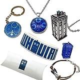 Orion Creations Doctor Who Geschenk beinhaltet: Halskette, Armbänder, Schlüsselring und Brosche. Geschenk-Kissen-Box.