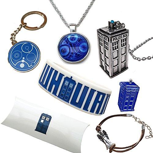 Doctor Who. Paquete de regalo. Tardis Collars, Gallifreyan llavero, pulsera Whovian y Pin. caja de regalo