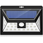 Mpow 24 LED Weitwinkel Solarleuchten Außen Solar Betriebene Außenleuchte, Wandleuchte, Energiesparende Wasserdichte 3 Modi Sicherheit Bewegungs-Sensor-Licht für Garten, Patio, Deck, Hof