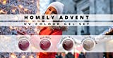 N&BF UV Farbgel Set | 4 x 5ml Colour Gel Homely Advent | Vier Rot-Töne im Sparset | Colorgel mittelviskos | Made in EU | Nagelgel Rot-Braun Farben | Farbgel ohne Säure + selbstglättend für Nail Art