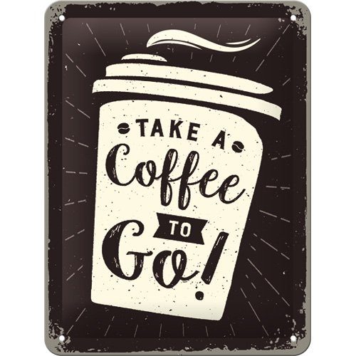 Nostalgic-Art 26228 Coffee to go | Retro Cartel de Chapa | Vintage de Cartel, Decoración de Pared, Metal, 15 x 20 cm, Multicolor, 15 x 20 x 0.2 cm