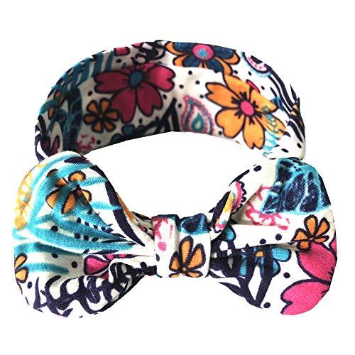 Lazzboy Mädchen Baby Kleinkind Turban Floral Stirnband Haarband Bow Zubehör Headwear Elastische Blume Gedruckt Stirnbänder, Baumwolle Weiche Turban-Kopf-Verpackungs(F)