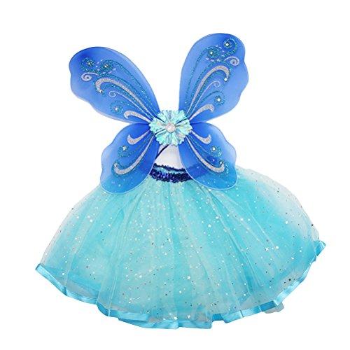 bestoyard Set Kostüm Fee Schmetterling Mädchen-Kostüm mit Flügeln und Damen-Tutu in blau für Mädchen 7-10Jahre