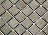 Restposten Fliesen Mosaik Mosaikfliese Glas Quadrat silber 8mm Neu #HO28