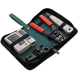 Allright 4tlg Netzwerk Werkzeug Set aus Kabeltester Abisolierwerkzeug Auflegewerkzeug Crimpzange und Etui