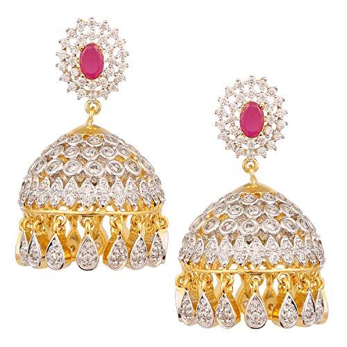 swasti-jewels-cz-zircon-bollywood-style-jhumka-earrings-for-women-red