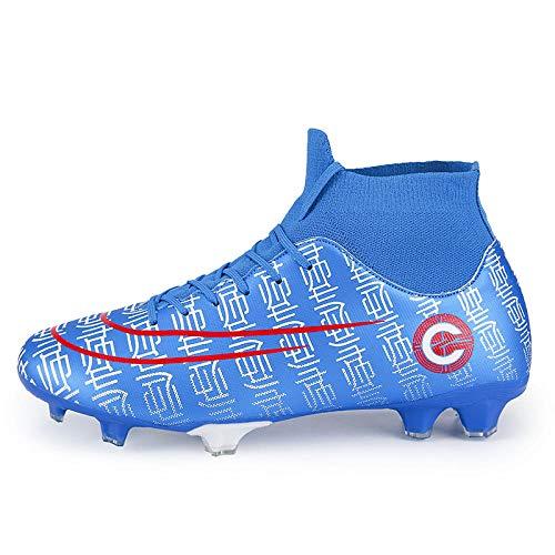Scarpe da Allenamento con Punte da Calcio Che volano in Tessuto Alto Aiuto Scarpe da Calcio Antiscivolo per Giovani Adulti 42 Blu