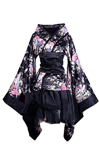 Nuoqi® Femmes Japonais traditionnel formelles porter kimono Cosplay costumes (Taille française 40, Noir)