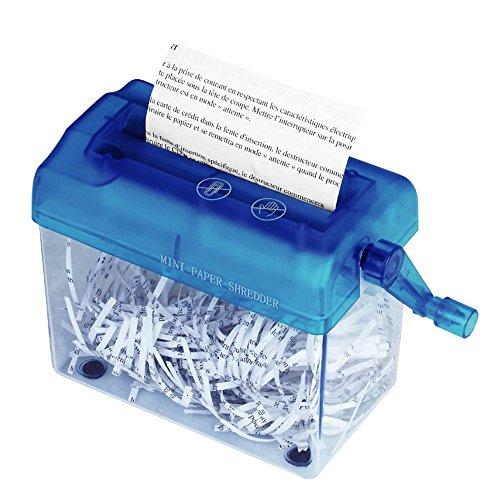 Befitery Shredder - Destructeur de documents Mini Shredder Portable Mini Destructeur Bureau déchiqueteuses à main (Bleu)