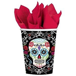 Vasos de papel desechables con motivos del Día de Muertos, de Amscan International (731519), 266 ml