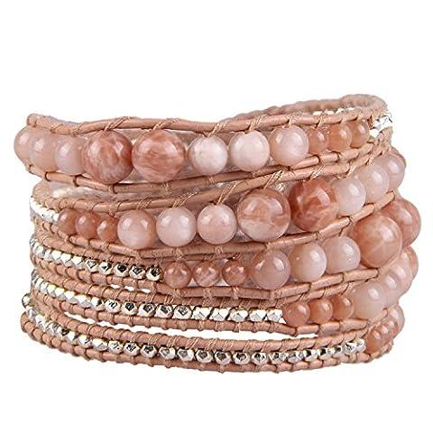 KELITCH Agate Pierres Précieuses Multicouche Bracelets Mode Fait Main Argent Petit Perles Bracelets Cuir Bijou