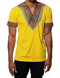 Cinnamou Los hombres Tops de moda adelgazan el cuello en V camiseta estampada del African dashiki Graphic camiseta Tops casuales blusa