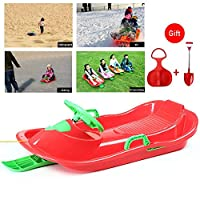 ZXZXZX Sledges, Kids Snow Sledge Toboggan, Grass Sledge with Rope Handle for Outdoor, Playing Snow Grass Sledge Sports Skiing Pad Winter Sports Toboggan Sled with Pull Rope