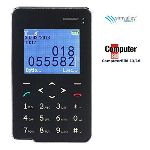 Simvalley Mobile Mini Handy: Premium Scheckkarten-Smarthandy Pico RX-492 mit Bluetooth (Kreditkarten Handy)