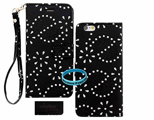 iPhone 6S Hülle, iPhone 6 Hülle, Wireless Fones TM Leder P U Wallet Phone Case [Kartenschlitz] [Brieftasche] Carry All Case - für Apple iPhone 6 und iPhone 6S Geräte, Black Bling Flower
