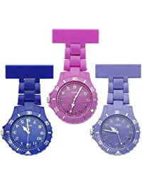 JSDDE Fashion Nurse Clip-on Fob Brooch Lapel Rotating Plastic Hanging Pocket Watch,Red Rose,Dark Blue,Purple