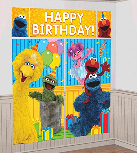 Sesame Street Elmo Scene Setters Wall Banner Decorating Kit Birthday Party Supplies by Sesame (Supplies Party Street Birthday Sesame)