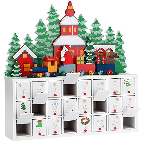 SSITG Adventskalender Holz zum Befüllen Weihnachtskalender Weihnachten selbstbefüllen (Lieferzeit ist 3-7 Tagen)