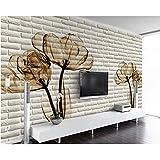 Rureng Seidentuch-Tapete Tulip 3D Der Dreidimensionalen Dekorativen Malerei Ziegel Fernsehhintergrundtapete-200X140Cm