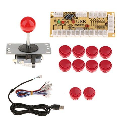 Baoblaze Nullverzögerungs USB Encoder Board PC Controller Joystick Buttons DIY Kits Für Arcade-Spiel - Rot