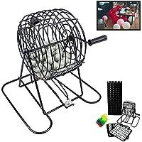 Deluxe alambre jaula bolas de juego de Bingo tarjetas juego de mesa bolas chips 18reproductor Junta