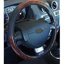 Funda para el volante universal de madera con efecto masaje y antideslizante para coches de 37-39 cm de diámetro + 1 adhesivo de PC de Ricambi Auto Europa