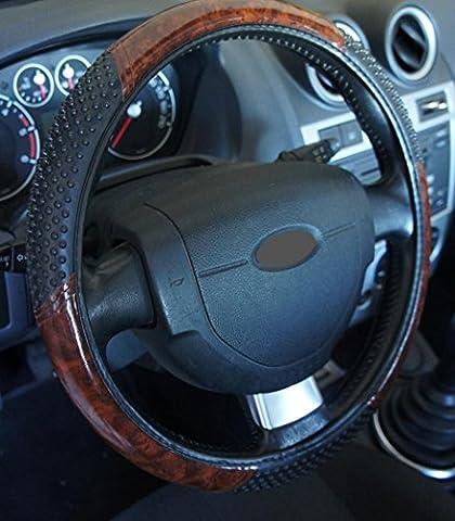 'Ausgezeichnete Qualität' Universal Lenkradbezug in Holz Optik massagante für Auto Anti rutsche Durchmesser 37–39cm + 1Wandtattoo PC