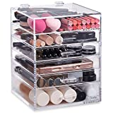 Beautify Acrylic Cosmetic Organiser Clear Makeup Beauty Storage Cube With 5 Drawers 6 Tier & Removable Divider