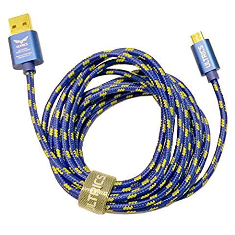 Premium ULTRICS® Hi-Speed Extra Long Nylon Braided Tangle-Free USB 2.0 Micro USB Charging/Sync Cable For Micro USB Male to USB Male Adapter Cable Universal for Samung Galaxy Note S5 S4 S3 S2 Tab 3 Note 10.1 2014 Edition | Google Nexus 5 4 7 10 2013 | HTC One M8 | Moto G | Nokia Lumia | Sony Xperia Phone Tablet (2 Meters,