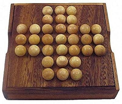 Winshare Puzzles and Games Solitaire Marble - Wooden Brain Teaser Game
