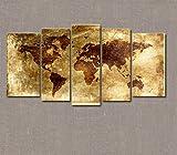 Marcus R Caveggf Leinwandbild Weltkarte Retro - Galerie eingewickelt, direkt vom Hersteller GZD-4203, 5 Pieces