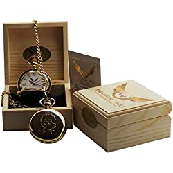 Signed Bob Dylan Gold Pocket Watch and Chain Luxury 24 Carat Plated in Wooden Gift Box Case Collectors Gift