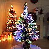 1 Pz Albero Di Natale 50Cm Con Stringa Di Led Luce Artificiale Floccaggio Neve Albero Di Natale Con Luci Multicolore Decorazione Di Festa