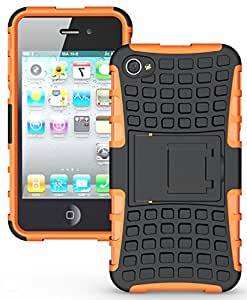 Heartly Flip Kick Stand Hard Dual Armor Hybrid Rugged Bumper Back Case Cover For iPhone 4 4S 4G - Orange