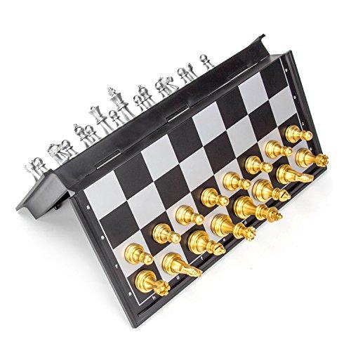LAOYE Schachspiel Magnetisch, Schachbrett Magnetisch + Chessfiguren in goldener / silberner Farbe, leicht, geeignet für Reisen, Camping, Zugfahrt, unterwegs etc. (25 x 25 cm) (Strand-magnet)