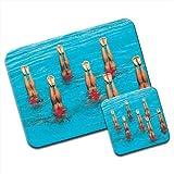 Sincronizzato per nuotatori in formazione gambe a Premium Mousematt & sottobicchieri