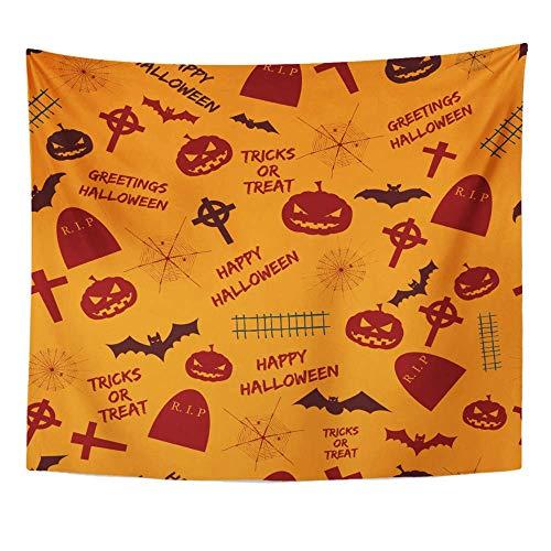 Soefipok Wandteppich Polyester Stoff Drucken Home Decor Grüße Halloween Abstract Holiday Symbole und Text Tricks auf orange Wandbehang Tapisserie für Wohnzimmer Schlafzimmer Schlafsaal behandeln