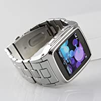 Flylink Stainless Steel Mobile Watch Phone with JAVA Skype,Newest Bluetooth Watch Cell Phone,Silver