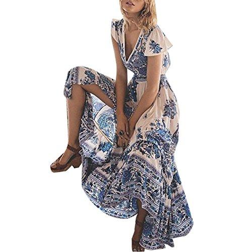 Damen Sommer-Strand Reizvoll Tiefem V-Ausschnitt Neckholder Trägerlos Große Schaukel Länge Rockkleid Retro Pastell Sandstrandkleid Weiß