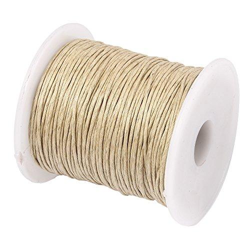 Perlin – 75 m Gewachste Baumwollekordel Beige Sand 1mm Gewachst Schmuck Schnüre Wachs Fäden ideal zur Schmuckherstellung C161