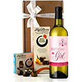 """Wine and Chocolates Birthday Girl Gift: Wine Label Reads """"Birthday Girl Have a Fabulous Time!"""""""
